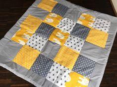 """Krabbeldecken - Patchwork Decke/Krabbeldecke """"yellow eleph... - ein Designerstück von babrause bei DaWanda"""