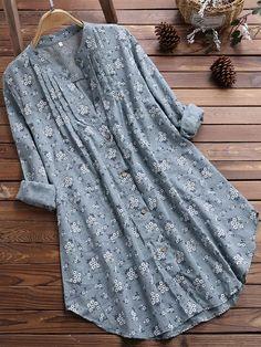 Blouses V-Neck Pleated Floral Print Long Sleeve Casual Tops Blouse Dames Blouses Lange Mouwen Blusas Ladies Tops Streetwear Mode, Streetwear Fashion, Blouse Verte, Mode Hijab, Blouse Dress, Linen Blouse, Plus Size Blouses, Plus Size Shirts, Long Sleeve Tunic