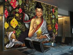 The feeling of being content with yourself and the surroundings is reflected through the happiness & peace on Buddha's face. The colorful background further augments the charisma of this Wall Design!!