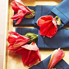 Add an unexpected touch to a dinner party by tucking amaryllis blooms into linen napkins just before guests arrive. To avoid pollen on the table, pull out the flower centers prior to placing them.
