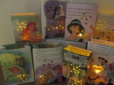 Take Disney book and cover a paper bag with it, punch out hearts etc. and use batter candle. Luminaries, Disney Princess Party,15 Disney Princess Luminaries, Princess Party, Disney Princess Decor, Disney Princess Birthday via Etsy