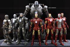 Hot Toys Iron Man Mark I-VI + War Machine + Iron Monger 1/6 scale Figures.