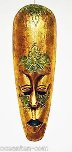 GOLDEN MEDITATION AFRICAN WOODEN MASK HAND CARVED WOOD WALL ART DECOR M419