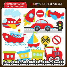 Transportation Clipart INSTANT DOWNLOAD by babystardesign on Etsy, $5.95