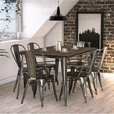 DHP Fusion 7 Piece Dining Set in Antique Gun Metal *** You can find out more details at the link of the image.-It is an affiliate link to Amazon. #DiningSets