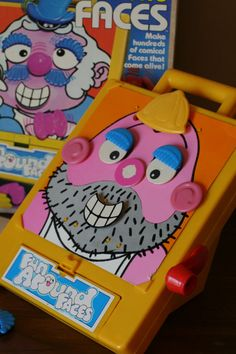 Fun Around Faces  Romper Room  Turn the Crank and Watch the face come to life  1981 Hasbro Industries  Ages 2 and up.  The face console has a