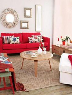 Feng Shui Elemento Fuego usando el color rojo en sala de estar