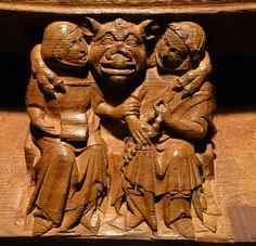 The demon Tutivillus embracing slothful monks who should be praying. Ely Cathedral, Gothic Gargoyles, Masonic Symbols, Art Society, The Monks, Wooden Art, Medieval Art, Green Man, Mythical Creatures