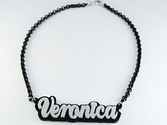 Plexiglass necklace with your name.  personalized necklace, Sweet Papillon by Veronica Cattaneo $27