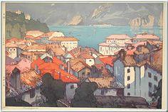 Hiroshi Yoshida Europe Series: The Town of Lugano, woodblock print, 1925 Lugano, Museum Of Fine Arts, Art Museum, Hiroshi Yoshida, Toledo Museum Of Art, Illustration Art, Illustrations, Botanical Illustration, Art Asiatique