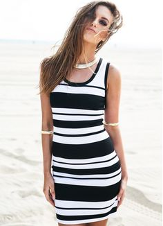 Slim O-neck Stripe Sleeveless Short Dress