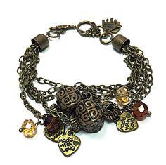 Gypsy Bracelet Crystal & Bronze Bracelet by TheaDesignConcepts