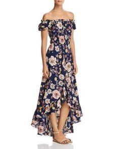 970e461dca4e AQUA Floral Off-the-Shoulder Maxi Dress - 100% Exclusive