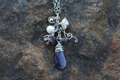 Purple Dangle Wire Wrapped Amethyst Charm Necklace by SarahWired, $30.00