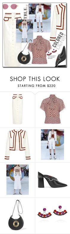 """""""Spring Trend: colored Denim"""" by faten-m-h ❤ liked on Polyvore featuring Ganni, RED Valentino, 3.1 Phillip Lim, Loewe, Joomi Lim, Oliver Peoples and coloredjeans"""