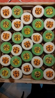 Tiger and leopard cupcakes