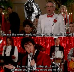 Discover & Share this Adam Sandler GIF with everyone you know. GIPHY is how you … – funny wedding quotes Movie Memes, Funny Movies, Great Movies, I Movie, Adam Sandler Memes, Best Wedding Quotes, The Wedding Singer, Favorite Movie Quotes, Nerd Humor