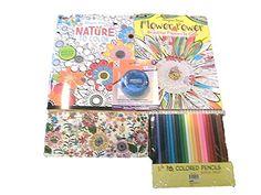 Nature & Flower Adult Coloring Book Starter Gift Set: Inc…