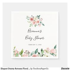 Elegant Dainty Autumn Floral Baby Shower Napkins Gender Neutral Baby Shower, Floral Baby Shower, Baby Boy Shower, Baby Shower Napkins, White Baby Showers, Baby Sprinkle, Ecru Color, Baby Shower Decorations, Watercolor Flowers