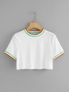 Striped Trim Crop TeeFor Women-romwe