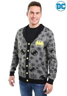 20fdcbca402 Snowflake Batman Black Ugly Christmas Cardigan for Men