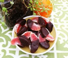 Dark chocolate, double dipped blood oranges.