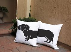 Dachshund Throw Pillows - Show your love for your favorite pet with these adorable dachshund pillows. Perfect for any room in your home, pillow covers make decorating fun and easy. Don't forget to save this to you board for later! #roomcraft