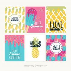 Collection of nice summer cards Free Vector Eid Crafts, Diy And Crafts, Diy Notebook Cover, Creative Birthday Cards, Canvas Art Quotes, Easy Canvas Painting, Project Life Cards, Bullet Journal, Bday Cards