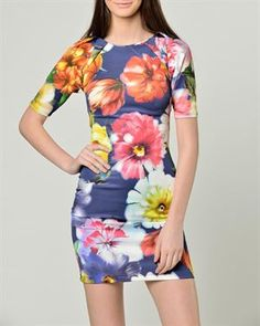 Isabel Queen Multicolor Floral Pattern Dress Made In Italy