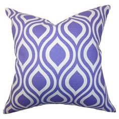 Showcasing a retro-inspired take on a purple ogee motif, this down-filled pillow brings a pop of vintage-style appeal to your home.  Product: PillowConstruction Material: Cotton cover and down fillColor: Purple and white  Features:  Insert includedHidden zipper closureMade in the USA  Cleaning and Care: Spot clean