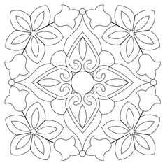 bandana block 001 – Quilting Designs – Blocks (Complex/Dense) – Home Decor Quilting Stencils, Quilting Designs, Mandala Coloring, Colouring Pages, Tile Patterns, Embroidery Patterns, Blue Pottery, Tile Art, Tiles