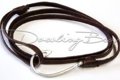 Genuine Chocolate Leather Sterling Silver Fish Hook Bracelet