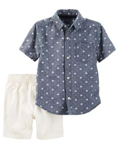 Toddler Boy 2-Piece Chambray Button-Front & Canvas Short Set from Carters.com. Shop clothing & accessories from a trusted name in kids, toddlers, and baby clothes.