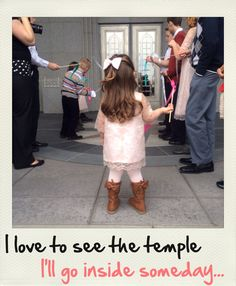 Have flower girl holding a sign outside the temple saying that!!!