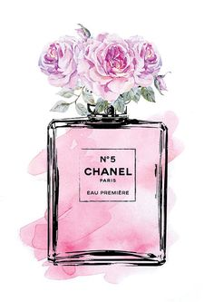 Coco Chanel No5 print 8.5x11 in Pink flowers roses by hellomrmoon