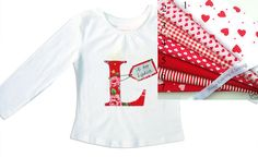 Personalized Valentines Alphabet Tee Shirt / Personalised Letter  T-Shirt / Girls Name Top / Children's Clothes / Baby Shirt by withhugsandkisses. Explore more products on http://withhugsandkisses.etsy.com