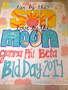 banner for University of Illinois Gamma Phi Beta bid day 2014