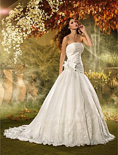 A-line+Strapless+Court+Train+Beading+Organza+Wedding+Dress+–+USD+$+349.99