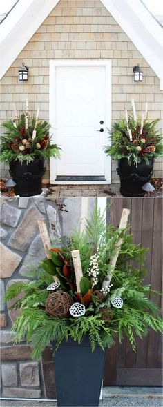 How to create colorful winter outdoor planters and beautiful Christmas planters . How to create colorful winter outdoor planters and beautiful Christmas planters with plant cuttings and decorative elements that last for a long time! Outdoor Christmas Planters, Christmas Porch, Rustic Christmas, Winter Christmas, Christmas Crafts, Outdoor Planters, Thanksgiving Holiday, Winter Porch, Garden Planters
