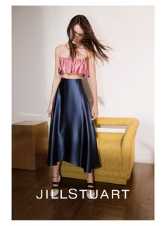 Model Romy Schonberger lands the spring-summer 2016 campaign from Jill Stuart. Posing in the designer's satin separates and one-sleeve dresses, the brunette poses for Glen Lunchford in a series of five images with an air of calm and cool. Stylist Camille Bidault Waddington pairs ruffle adorned separates with strappy heels for the spring advertisements. Jill …
