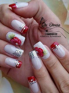 Nail Art Designs Videos, Nail Designs, Girls Nails, Hot Nails, Easy Nail Art, Nail Arts, Manicure And Pedicure, Make Up, Beauty