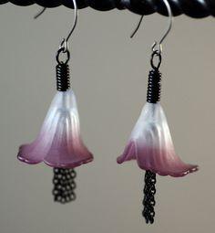 Vintage Lucite Flower Earrings Hand Dyed Violet and Pale Purple by Jennifer Sadler Designs, $14.00