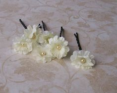 Ivory Wedding Small Flower Hair Pins -  Ivory Cream Flower Bobby Pins by GypsyBling, $12.00  #wedding #bridal #hair