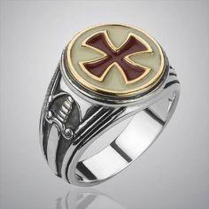 Men/'s Jewelry Cross Ring Cross Paladin Legion Stainless Steel Biker Ring Gothic