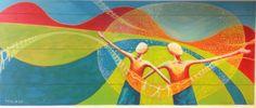 Paisaje colorido.. Arte en estación de buses de Cali-Colombia