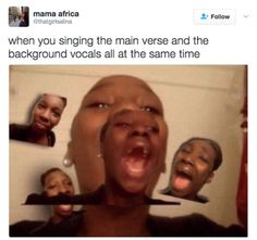 When You Singing The Main Verse And The Background Vocals All At The Same Time - Funny Memes. The Funniest Memes worldwide for Birthdays, School, Cats, and Dank Memes - Meme 9gag Funny, Stupid Funny Memes, Funny Relatable Memes, Funny Posts, Funny Quotes, Meme Comics, Really Funny Memes, The Funny, Funny Stuff