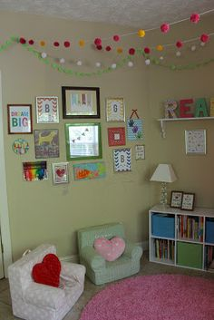 Playroom Reading Nook Special corner with bean bags or chairs and bookshelf. Fill wall around it with reading quotes