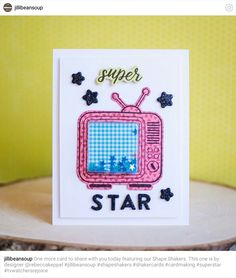 Jillibean Soup Super Star Clear Acrylic Stamp /& Die Set jb1326 TV Shaker Card
