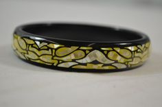 """Mother of Pearl Black & Yellow 8"""" Inch Bangle Bracelet QVC Jewelry #Bangle"""