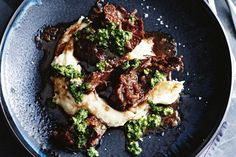 As the nights turn colder, only comfort food will do. Warm up this winter with meltingly tender beef cheeks and creamy mashed potato topped with tangy salsa verde.
